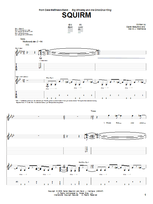 Dave Matthews Band Squirm sheet music notes and chords. Download Printable PDF.