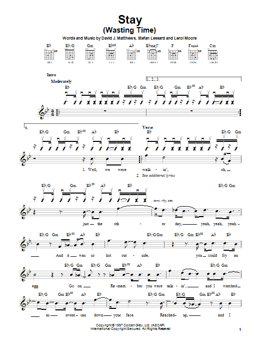Dave Matthews Band Stay (Wasting Time) sheet music notes and chords. Download Printable PDF.