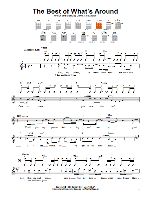 Dave Matthews Band The Best Of What's Around sheet music notes and chords. Download Printable PDF.