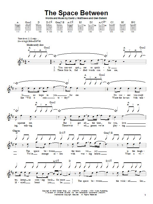 Dave Matthews Band The Space Between sheet music notes and chords. Download Printable PDF.