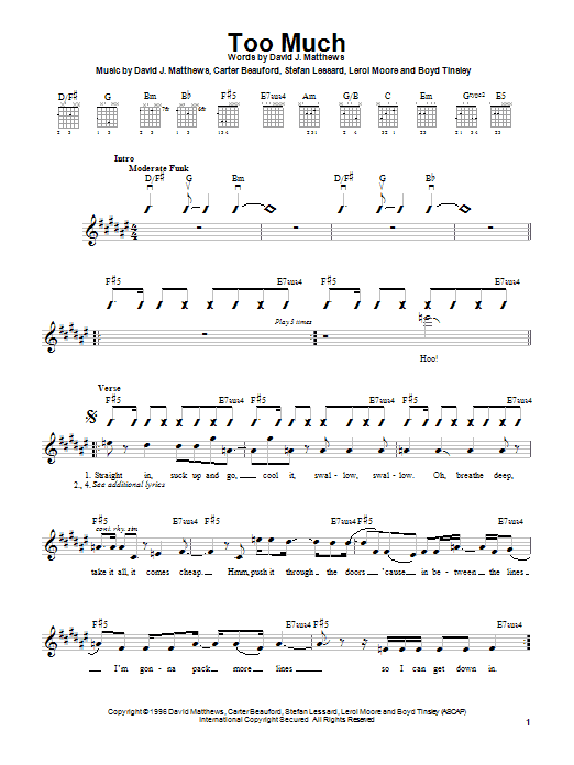 Dave Matthews Band Too Much sheet music notes and chords