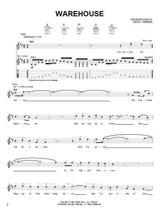 Dave Matthews Band Warehouse sheet music notes and chords. Download Printable PDF.