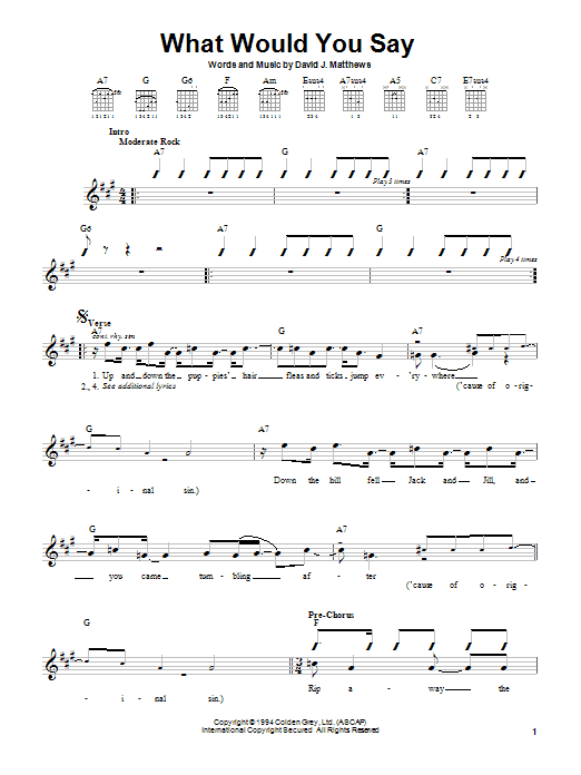 Dave Matthews Band What Would You Say sheet music notes and chords. Download Printable PDF.
