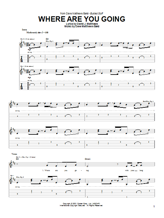 Dave Matthews Band Where Are You Going sheet music notes and chords. Download Printable PDF.