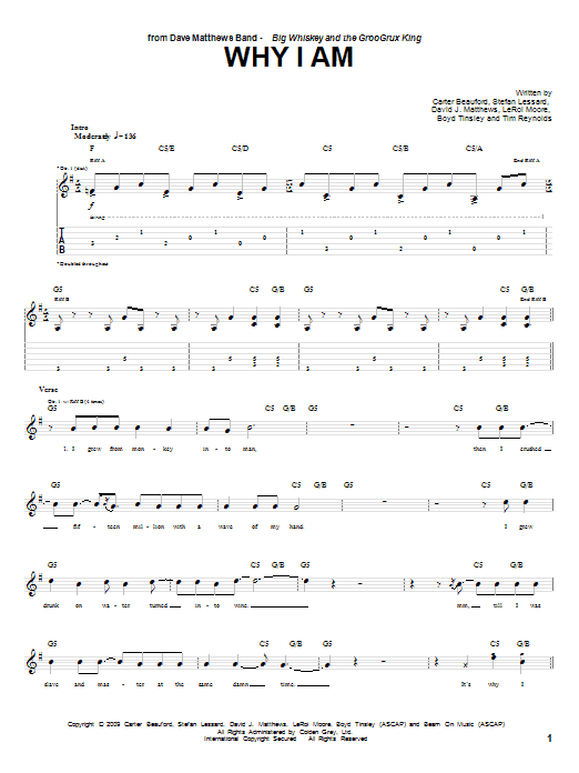 Dave Matthews Band Why I Am sheet music notes and chords. Download Printable PDF.