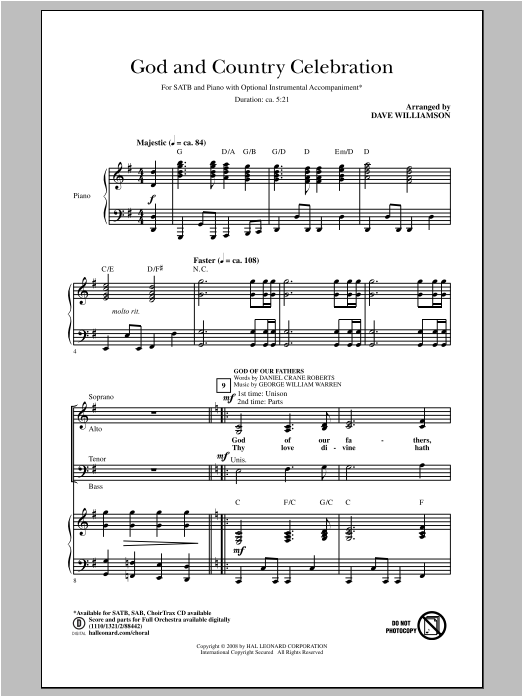 Dave Williamson God and Country Celebration (Medley) sheet music notes and chords. Download Printable PDF.