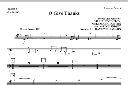 Dave Williamson O Give Thanks - Bassoon (Cello sub.) sheet music notes and chords. Download Printable PDF.