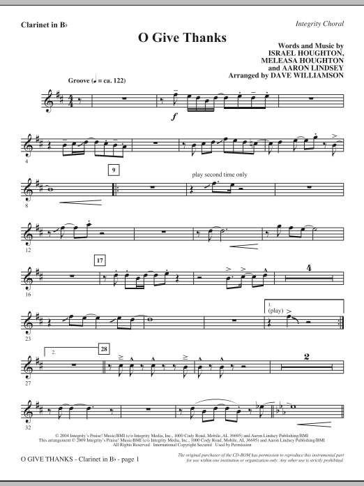 Dave Williamson O Give Thanks - Bb Clarinet sheet music notes and chords. Download Printable PDF.