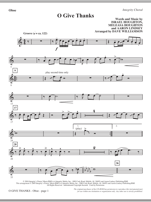 Dave Williamson O Give Thanks - Oboe sheet music notes and chords. Download Printable PDF.