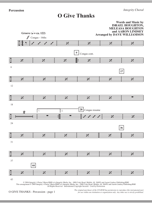Dave Williamson O Give Thanks - Percussion sheet music notes and chords. Download Printable PDF.