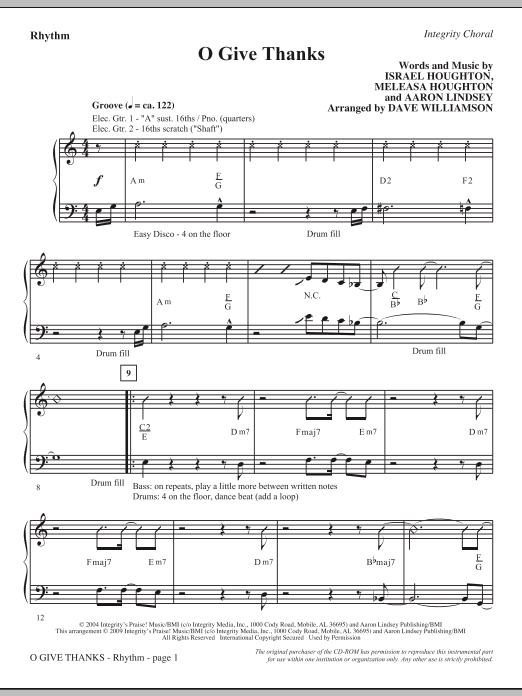 Dave Williamson O Give Thanks - Rhythm sheet music notes and chords. Download Printable PDF.