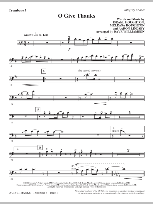 Dave Williamson O Give Thanks - Trombone 3 sheet music notes and chords. Download Printable PDF.