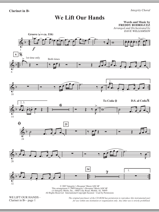 Dave Williamson We Lift Our Hands - Bb Clarinet sheet music notes and chords. Download Printable PDF.