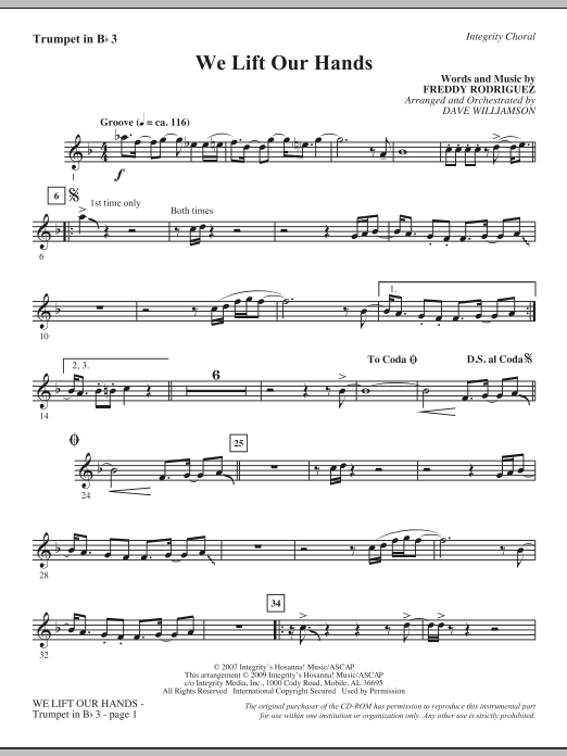 Dave Williamson We Lift Our Hands - Bb Trumpet 3 sheet music notes and chords. Download Printable PDF.