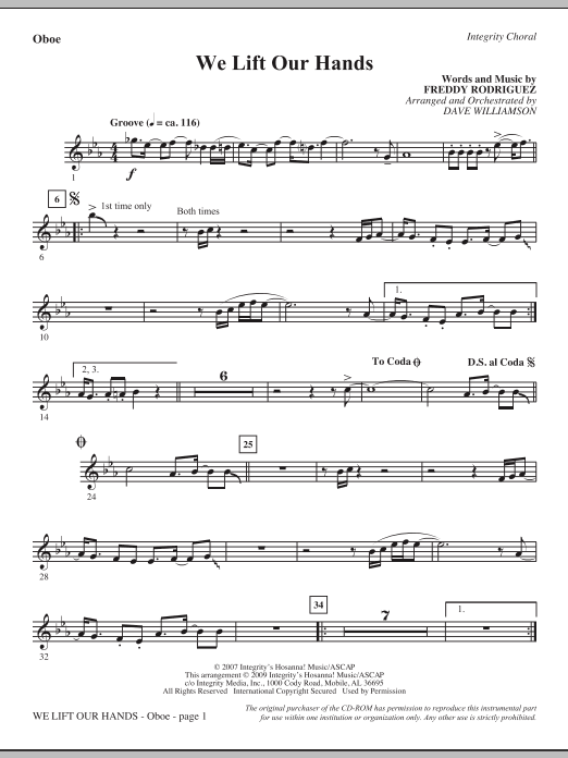 Dave Williamson We Lift Our Hands - Oboe sheet music notes and chords. Download Printable PDF.