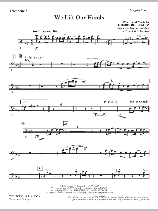 Dave Williamson We Lift Our Hands - Trombone 3 sheet music notes and chords. Download Printable PDF.