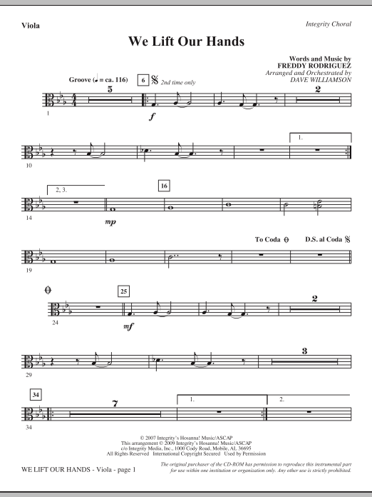 Dave Williamson We Lift Our Hands - Viola sheet music notes and chords. Download Printable PDF.