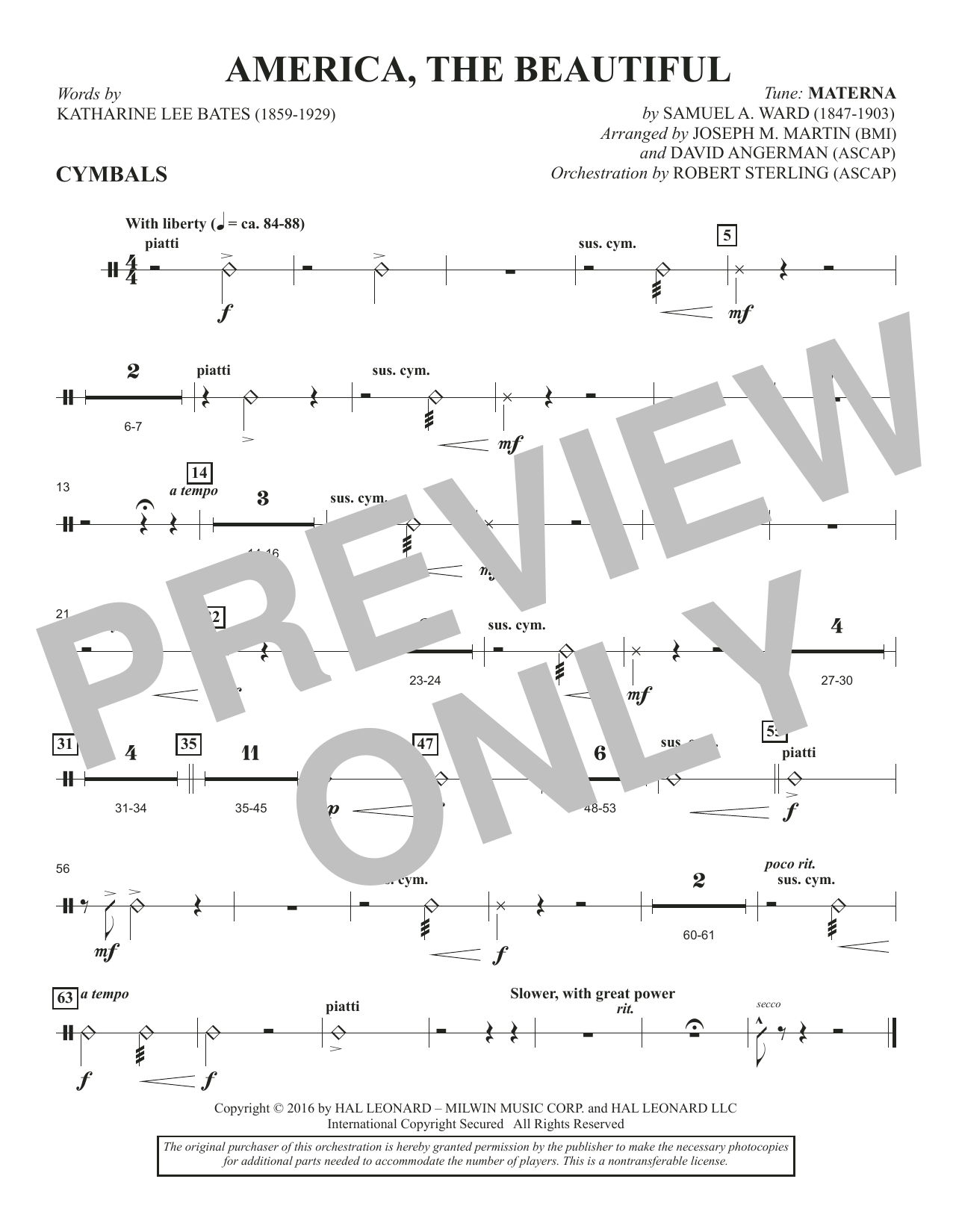 David Angerman America, the Beautiful - Cymbals sheet music notes and chords. Download Printable PDF.
