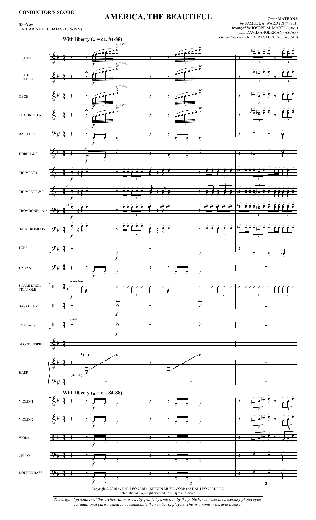 David Angerman America, the Beautiful - Full Score sheet music notes and chords. Download Printable PDF.