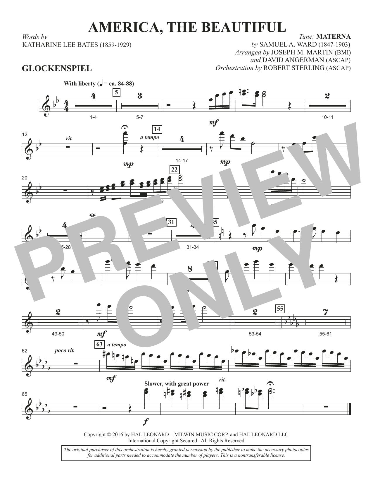 David Angerman America, the Beautiful - Glockenspiel sheet music notes and chords. Download Printable PDF.