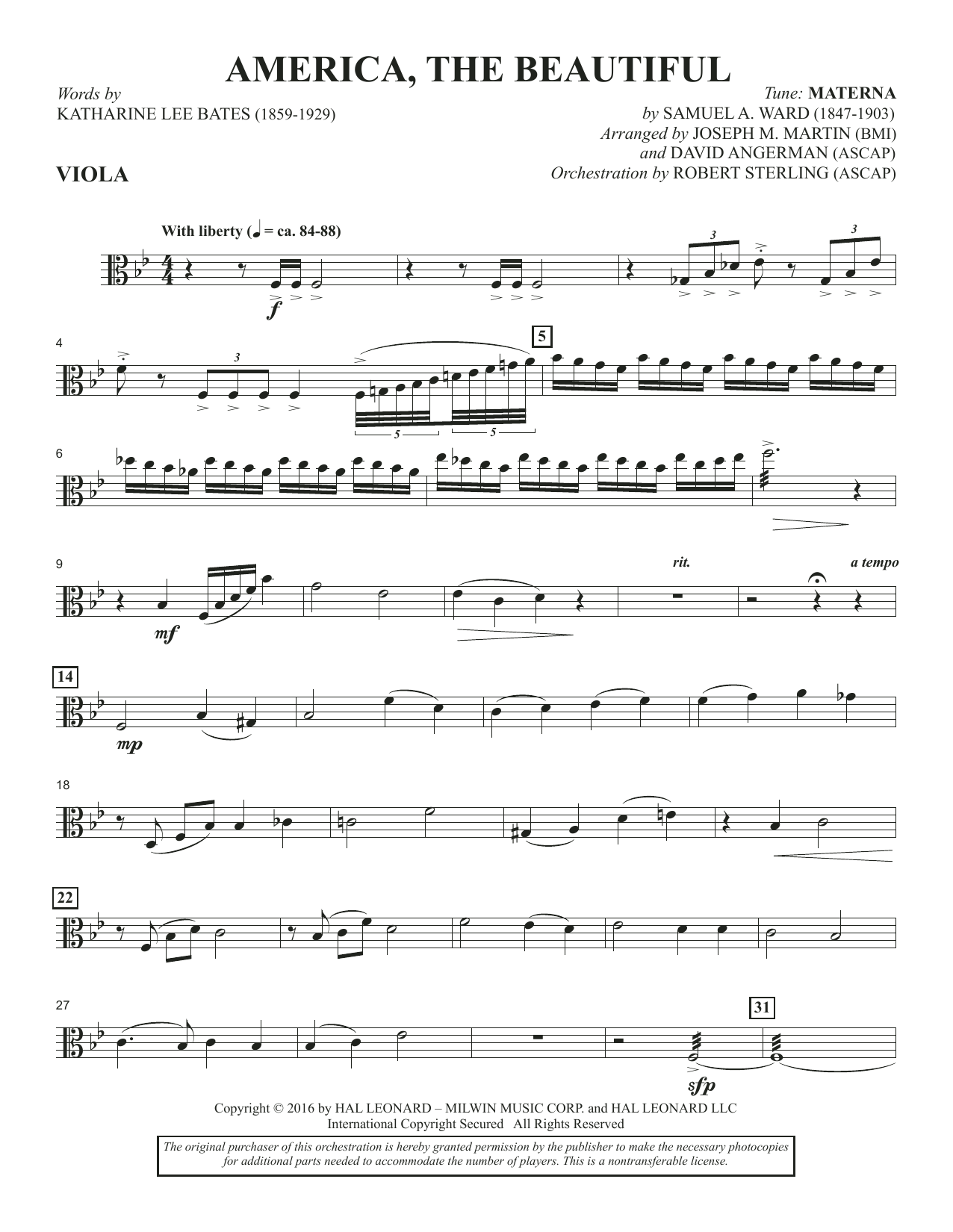 David Angerman America, the Beautiful - Viola sheet music notes and chords. Download Printable PDF.