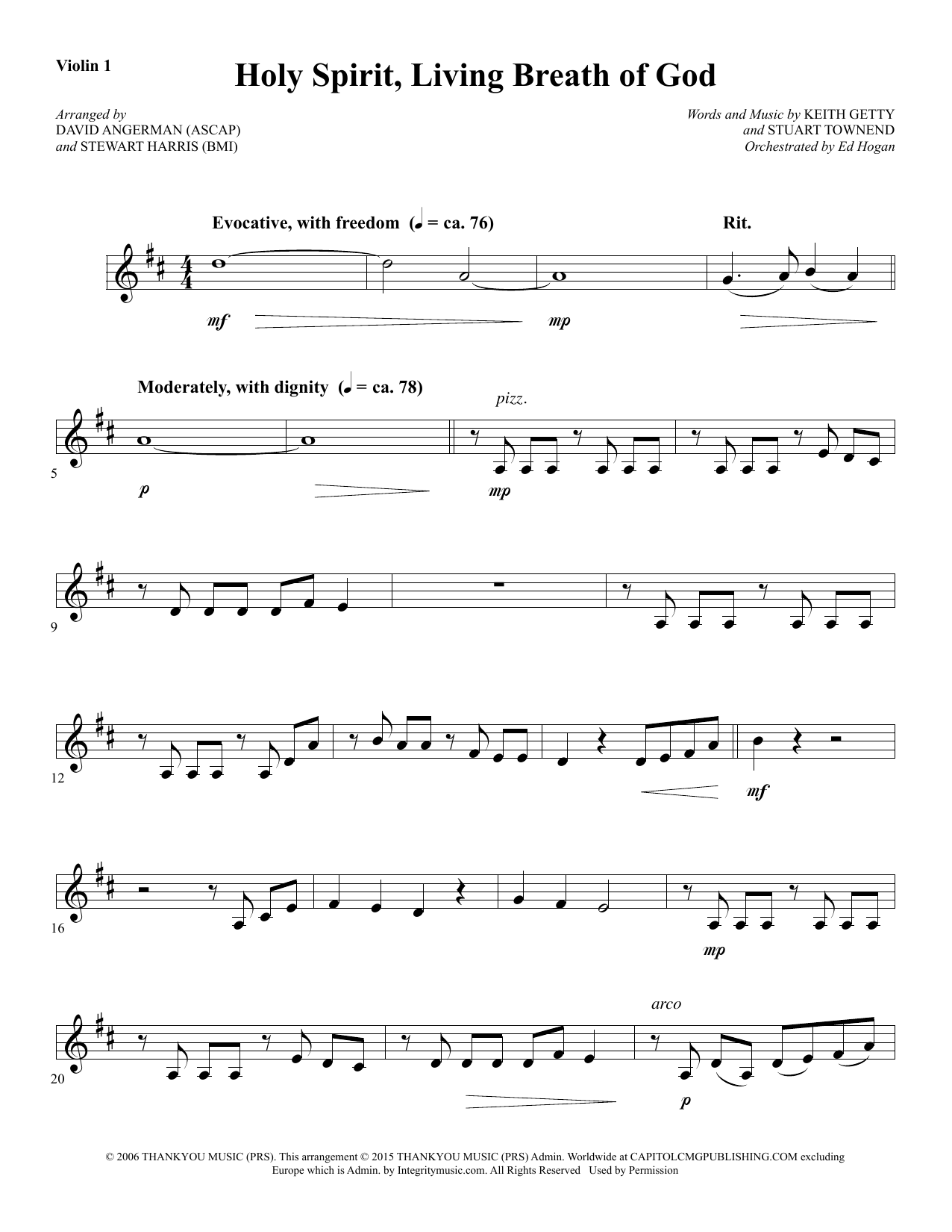 David Angerman Holy Spirit, Living Breath of God   Violin 15 Sheet Music  Notes, Chords   Download Printable Choir Instrumental Pak PDF Score   SKU  ...