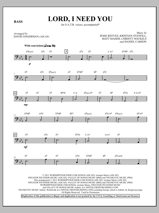 David Angerman Lord, I Need You - Electric Bass sheet music notes and chords. Download Printable PDF.