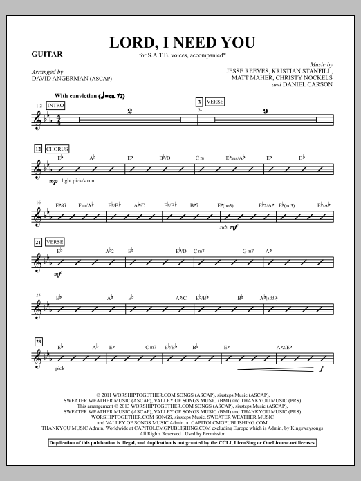 David Angerman Lord, I Need You - Guitar sheet music notes and chords. Download Printable PDF.