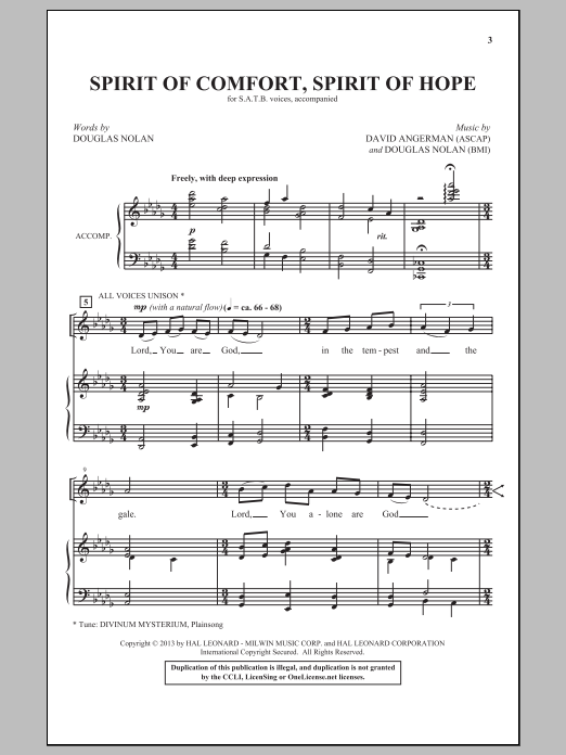 David Angerman Spirit Of Comfort, Spirit Of Hope sheet music notes and chords