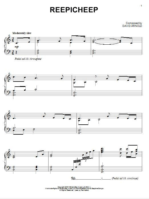 David Arnold Reepicheep sheet music notes and chords. Download Printable PDF.