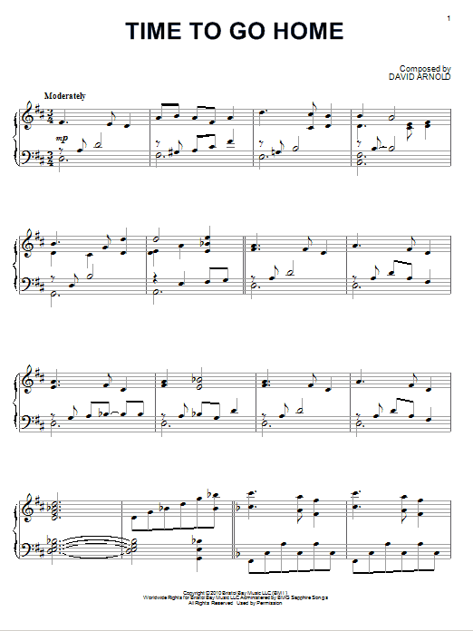 David Arnold Time To Go Home sheet music notes and chords. Download Printable PDF.