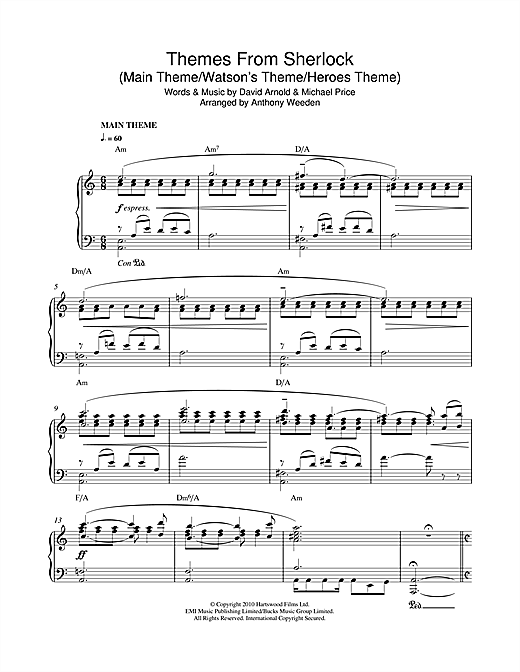 David Arnold & Michael Price Themes From Sherlock (Main Theme/Watson's Theme/Heroes Theme) sheet music notes and chords. Download Printable PDF.