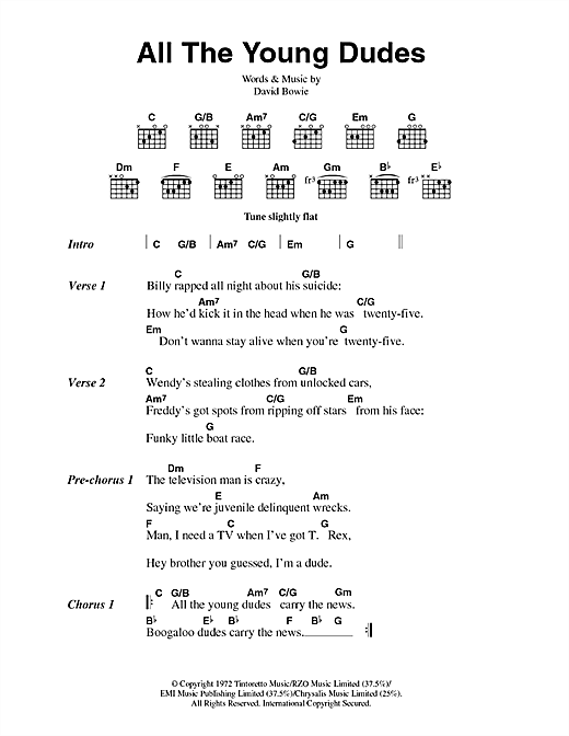 David Bowie All The Young Dudes sheet music notes and chords. Download Printable PDF.