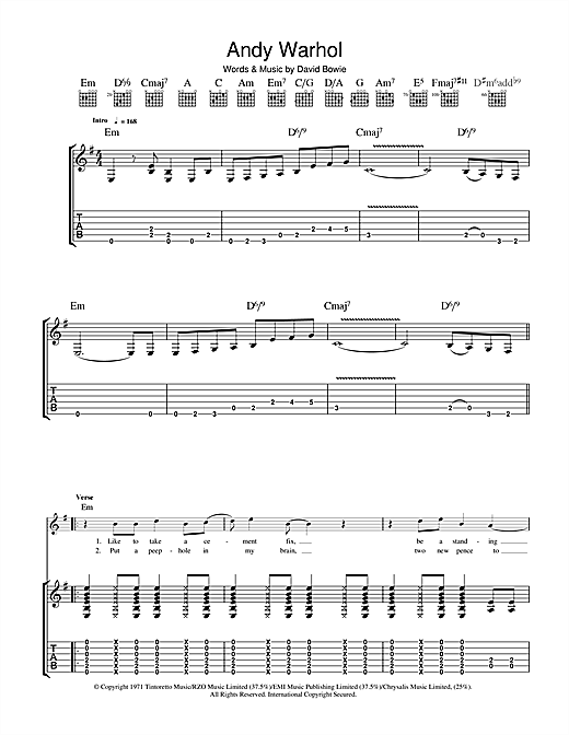 David Bowie Andy Warhol sheet music notes and chords. Download Printable PDF.