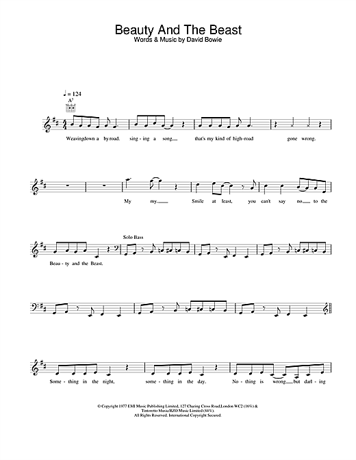 David Bowie Beauty And The Beast sheet music notes and chords. Download Printable PDF.