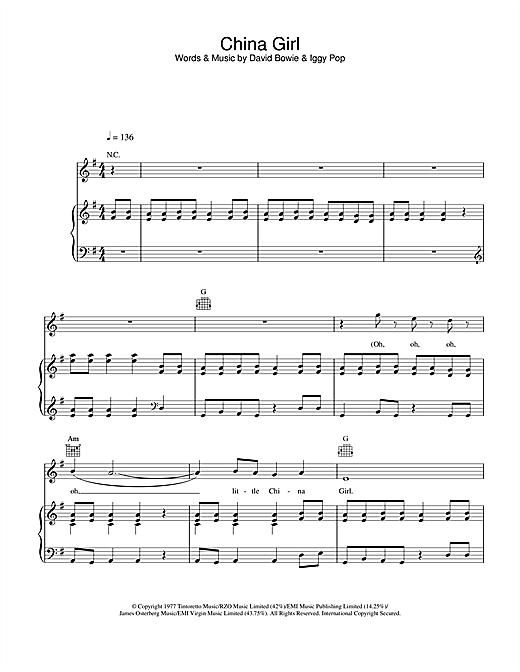 David Bowie China Girl sheet music notes and chords. Download Printable PDF.