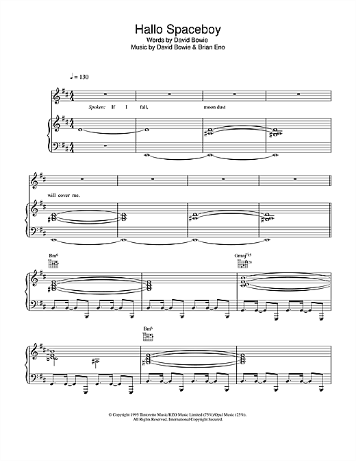 David Bowie Hallo Spaceboy sheet music notes and chords