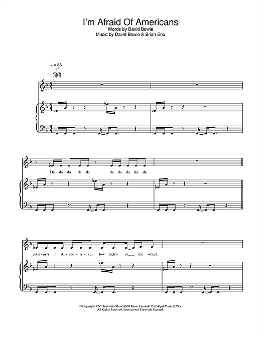 David Bowie I'm Afraid Of Americans sheet music notes and chords