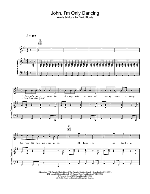 David Bowie John, I'm Only Dancing sheet music notes and chords