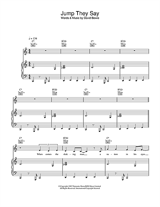 David Bowie Jump They Say sheet music notes and chords
