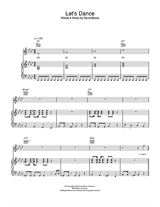 David Bowie Let's Dance sheet music notes and chords. Download Printable PDF.