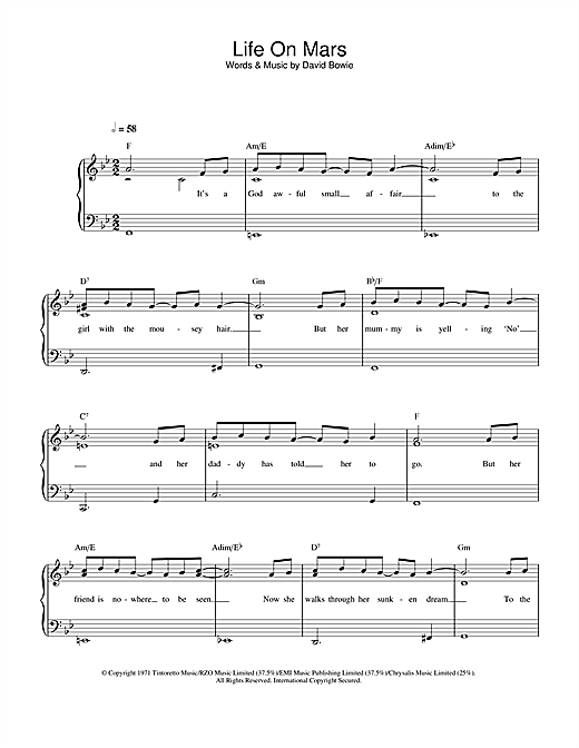 David Bowie Life On Mars? sheet music notes and chords. Download Printable PDF.