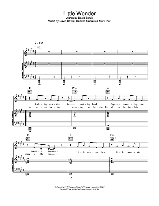 David Bowie Little Wonder sheet music notes and chords