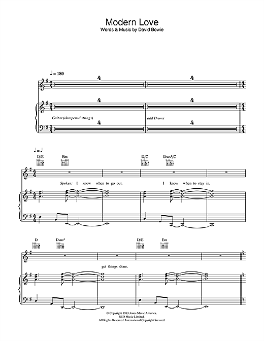 David Bowie Modern Love sheet music notes and chords. Download Printable PDF.