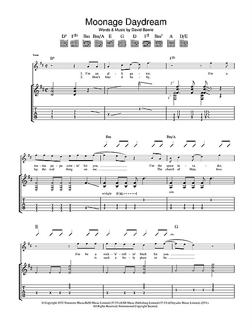 David Bowie Moonage Daydream sheet music notes and chords. Download Printable PDF.
