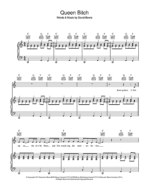 David Bowie Queen Bitch sheet music notes and chords