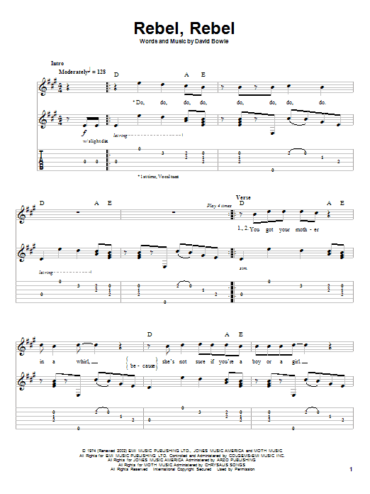 David Bowie Rebel, Rebel sheet music notes and chords. Download Printable PDF.
