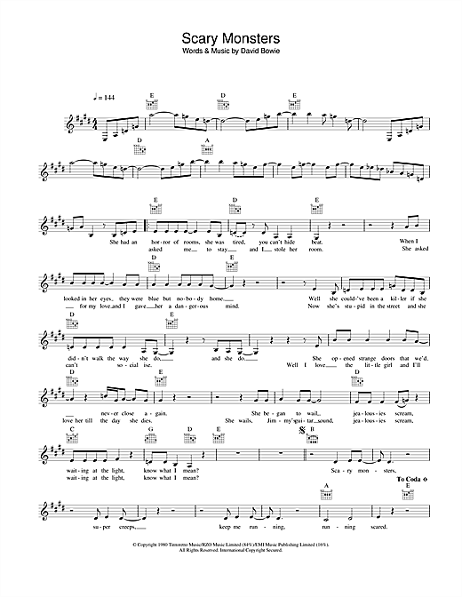 David Bowie Scary Monsters sheet music notes and chords. Download Printable PDF.