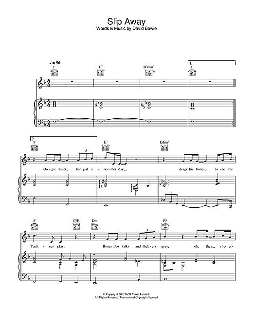 David Bowie Slip Away sheet music notes and chords. Download Printable PDF.