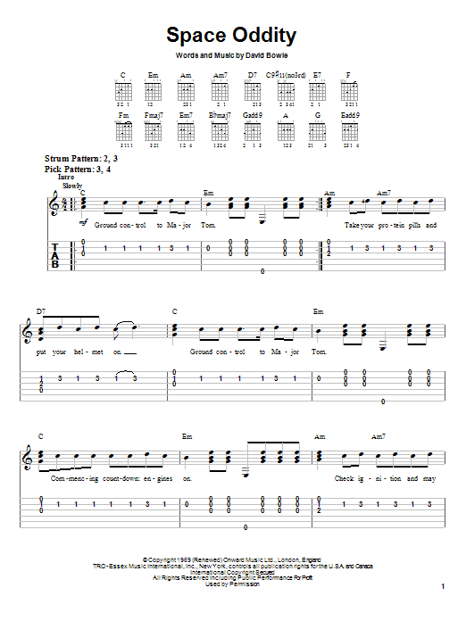 David Bowie Space Oddity sheet music notes and chords. Download Printable PDF.